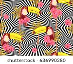 seamless jungle pattern with... | Shutterstock .eps vector #636990280