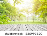 empty wooden table with garden... | Shutterstock . vector #636993820