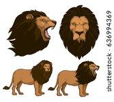 lion cartoon set   Shutterstock .eps vector #636994369