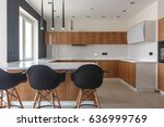 Stock photo contemporary kitchen in classical style with loft details luxury apartment downtown dining zone 636999769