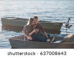 couple walks the park and the... | Shutterstock . vector #637008643