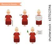 grandmother housewife character ... | Shutterstock .eps vector #637012546