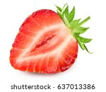 half of strawberry isolated on... | Shutterstock . vector #637013386