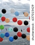 colorful balloons in the air on ... | Shutterstock . vector #637015429