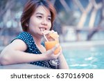 young woman with cocktail in... | Shutterstock . vector #637016908