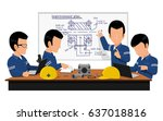 four engineer are meeting about ... | Shutterstock .eps vector #637018816