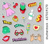 fashion girls badges  patches ... | Shutterstock .eps vector #637019170
