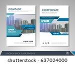 blue annual report brochure... | Shutterstock .eps vector #637024000