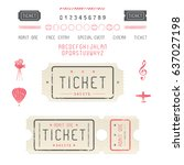set of vintage tickets  icons... | Shutterstock .eps vector #637027198