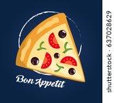 pizza slice. vector cartoon... | Shutterstock .eps vector #637028629