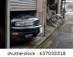 the parked car exceeds the size ... | Shutterstock . vector #637033318
