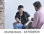 teenage boy wearing cap ... | Shutterstock . vector #637036924