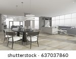 3d rendering dining zone with...   Shutterstock . vector #637037860