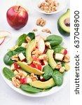 fruit salad with apples ...   Shutterstock . vector #637048900