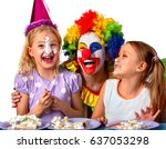 birthday children clown eating... | Shutterstock . vector #637053298