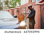 stylish black man at glasses... | Shutterstock . vector #637053994