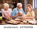 grandmother  grandfather and...   Shutterstock . vector #637060486