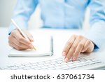 closeup of business man hand... | Shutterstock . vector #637061734