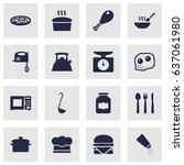 set of 16 kitchen icons set...   Shutterstock .eps vector #637061980
