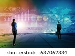 businessman and businesswoman... | Shutterstock . vector #637062334