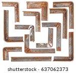Set Corner Rusty Metal Isolated ...