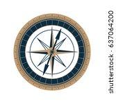 antique sea compass vector icon.... | Shutterstock .eps vector #637064200