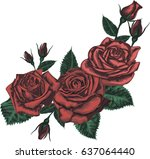 beautiful bouquet with red... | Shutterstock .eps vector #637064440