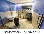 the luxury bathroom with the... | Shutterstock . vector #637075210