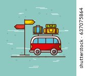 travel related icons image  | Shutterstock .eps vector #637075864