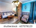 luxury hotel room in russian... | Shutterstock . vector #637078123
