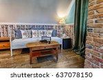 luxury hotel room in russian... | Shutterstock . vector #637078150