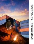 industrial welding worker... | Shutterstock . vector #637078228