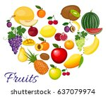 fresh organic food. set of... | Shutterstock . vector #637079974