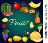 set of colorful cartoon fruit.... | Shutterstock . vector #637079998