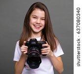 cute brunette little girl... | Shutterstock . vector #637080340