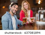 portrait of young man and woman ... | Shutterstock . vector #637081894