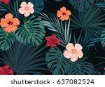 seamless hand drawn tropical... | Shutterstock .eps vector #637082524