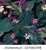 seamless botanical exotic... | Shutterstock .eps vector #637082548