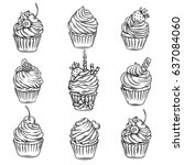 vector hand drawn cupcakes... | Shutterstock .eps vector #637084060