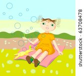 girl with soap bubbles | Shutterstock .eps vector #63708478