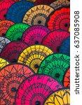 traditional burmese umbrellas.... | Shutterstock . vector #637085908