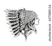 american indian girl in... | Shutterstock . vector #637088116