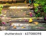 Yellow Leaf On The Wood Floor...
