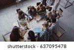 top view of mixed race business ... | Shutterstock . vector #637095478