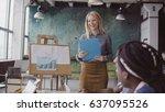 meeting of multiethnic young... | Shutterstock . vector #637095526