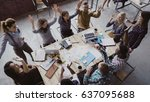 top view of business team... | Shutterstock . vector #637095688