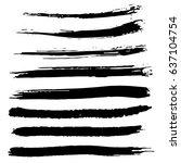 ink vector brush strokes set.... | Shutterstock .eps vector #637104754