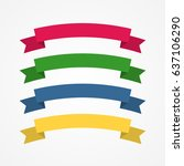 set flat vector ribbons... | Shutterstock .eps vector #637106290