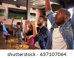 friends at counter in sports... | Shutterstock . vector #637107064