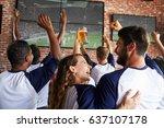 rear view of friends watching... | Shutterstock . vector #637107178